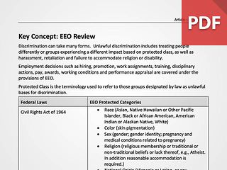 Key Concept: EEO Review