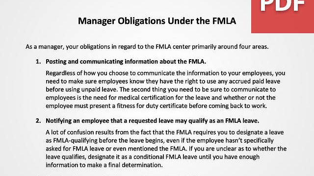 Manager Obligations Under the FMLA