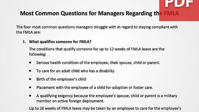 Most Common Questions for Managers Regarding the FMLA
