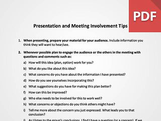 Presentation and Meeting Involvement Tips